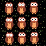 Halloween brown owls  Twin Hearts 3D Greeting Card (8x4) Inside