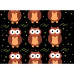 Halloween brown owls  Heart Bottom 3D Greeting Card (7x5) Back