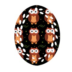Halloween Brown Owls  Ornament (oval Filigree)