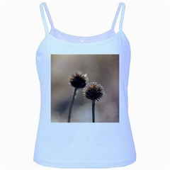 Withered Globe Thistle In Autumn Macro Baby Blue Spaghetti Tank