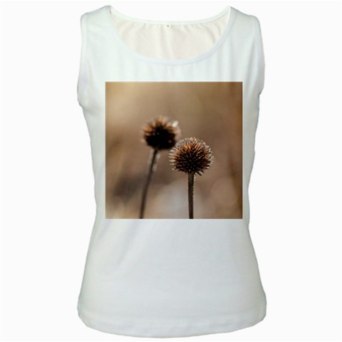 Withered Globe Thistle In Autumn Macro Women s White Tank Top