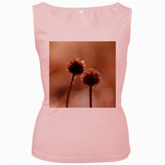 Withered Globe Thistle In Autumn Macro Women s Pink Tank Top