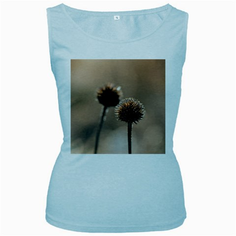 Withered Globe Thistle In Autumn Macro Women s Baby Blue Tank Top
