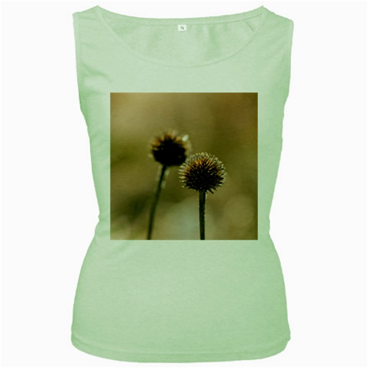 Withered Globe Thistle In Autumn Macro Women s Green Tank Top