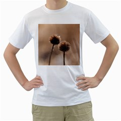 Withered Globe Thistle In Autumn Macro Men s T-Shirt (White) (Two Sided)