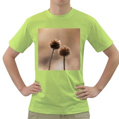 Withered Globe Thistle In Autumn Macro Green T-Shirt