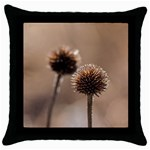 Withered Globe Thistle In Autumn Macro Throw Pillow Case (Black) Front