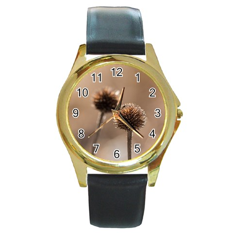 Withered Globe Thistle In Autumn Macro Round Gold Metal Watch
