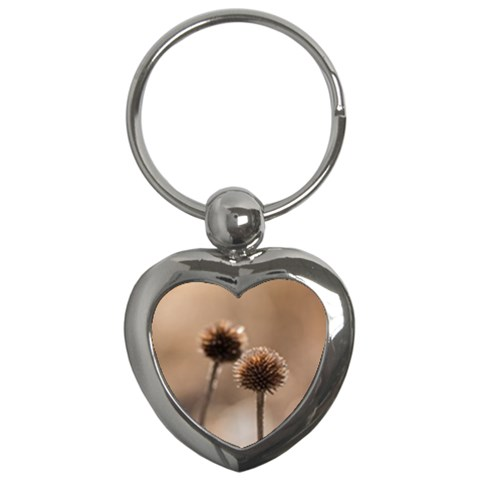 Withered Globe Thistle In Autumn Macro Key Chains (Heart)