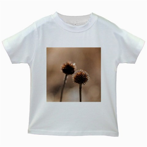 Withered Globe Thistle In Autumn Macro Kids White T-Shirts