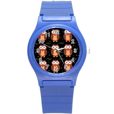 Halloween brown owls  Round Plastic Sport Watch (S)