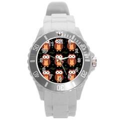 Halloween Brown Owls  Round Plastic Sport Watch (l)