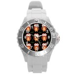 Halloween brown owls  Round Plastic Sport Watch (L) Front
