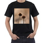 Withered Globe Thistle In Autumn Macro Men s T-Shirt (Black) (Two Sided) Front