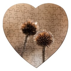 Withered Globe Thistle In Autumn Macro Jigsaw Puzzle (heart)