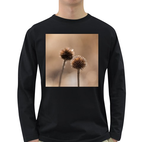Withered Globe Thistle In Autumn Macro Long Sleeve Dark T-Shirts