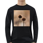 Withered Globe Thistle In Autumn Macro Long Sleeve Dark T-Shirts Front