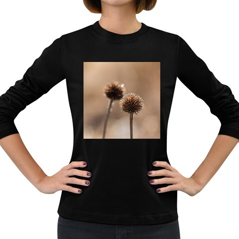 Withered Globe Thistle In Autumn Macro Women s Long Sleeve Dark T-Shirts