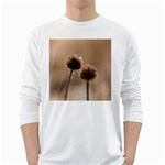 Withered Globe Thistle In Autumn Macro White Long Sleeve T-Shirts Front