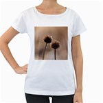 Withered Globe Thistle In Autumn Macro Women s Loose-Fit T-Shirt (White) Front