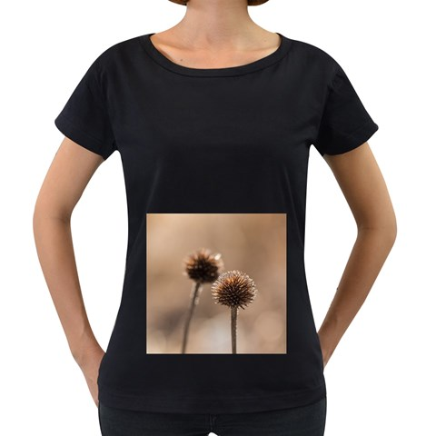 Withered Globe Thistle In Autumn Macro Women s Loose-Fit T-Shirt (Black)