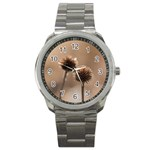 Withered Globe Thistle In Autumn Macro Sport Metal Watch Front