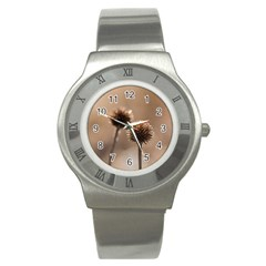 Withered Globe Thistle In Autumn Macro Stainless Steel Watch