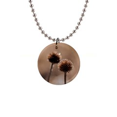Withered Globe Thistle In Autumn Macro Button Necklaces