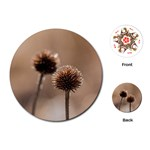 Withered Globe Thistle In Autumn Macro Playing Cards (Round)  Front