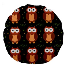 Halloween brown owls  Large 18  Premium Round Cushions