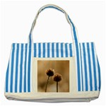 Withered Globe Thistle In Autumn Macro Striped Blue Tote Bag Front