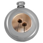 Withered Globe Thistle In Autumn Macro Round Hip Flask (5 oz) Front