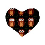 Halloween brown owls  Standard 16  Premium Heart Shape Cushions Back