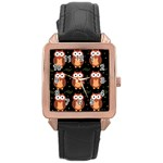 Halloween brown owls  Rose Gold Leather Watch  Front