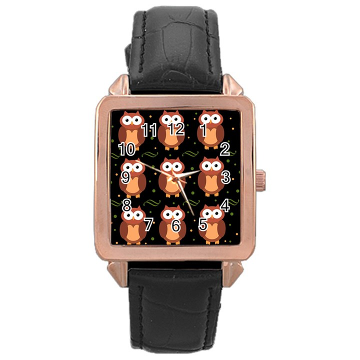 Halloween brown owls  Rose Gold Leather Watch
