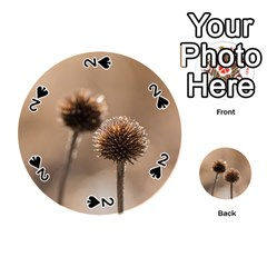 Withered Globe Thistle In Autumn Macro Playing Cards 54 (round)