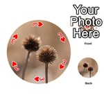 Withered Globe Thistle In Autumn Macro Playing Cards 54 (Round)  Front - Heart3