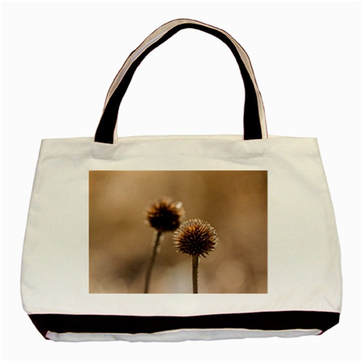 Withered Globe Thistle In Autumn Macro Basic Tote Bag (Two Sides)