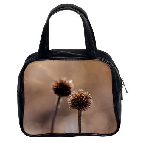 Withered Globe Thistle In Autumn Macro Classic Handbags (2 Sides)