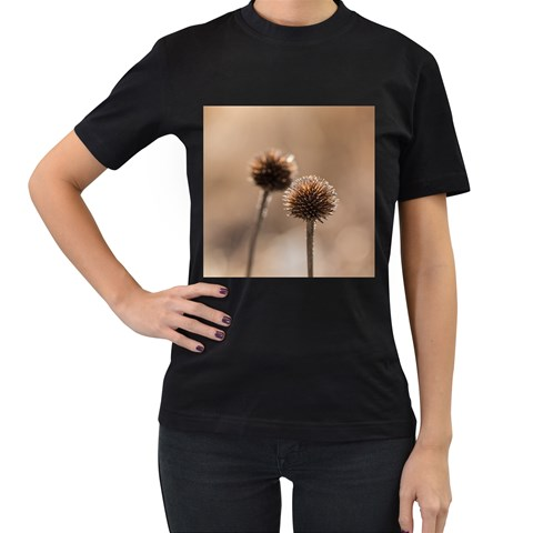 Withered Globe Thistle In Autumn Macro Women s T-Shirt (Black)