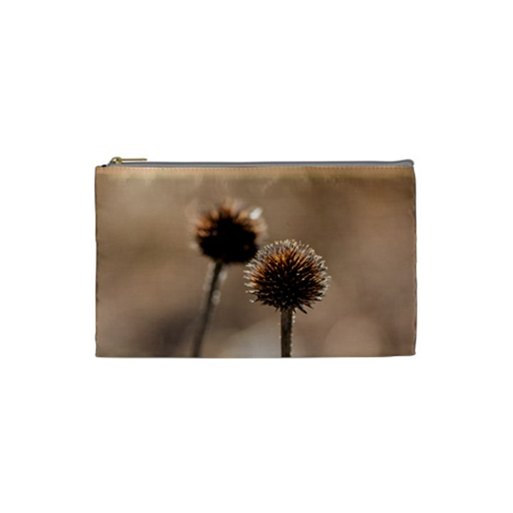 Withered Globe Thistle In Autumn Macro Cosmetic Bag (Small)