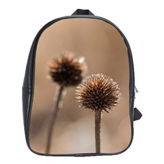 Withered Globe Thistle In Autumn Macro School Bags(Large)