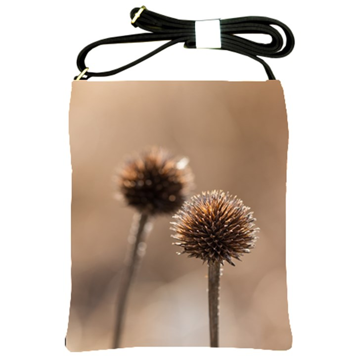 Withered Globe Thistle In Autumn Macro Shoulder Sling Bags