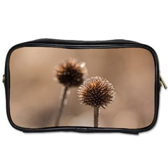 Withered Globe Thistle In Autumn Macro Toiletries Bags 2 Side