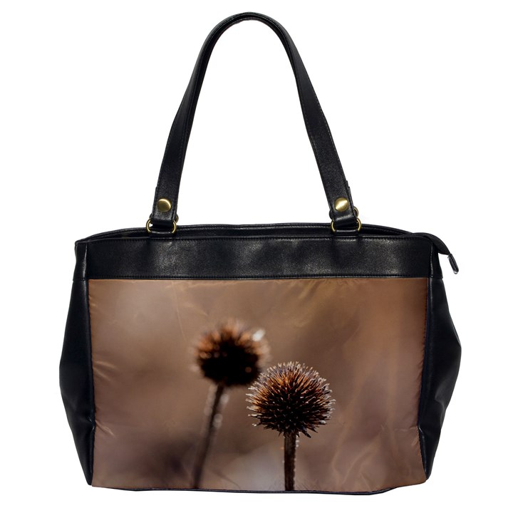 Withered Globe Thistle In Autumn Macro Office Handbags
