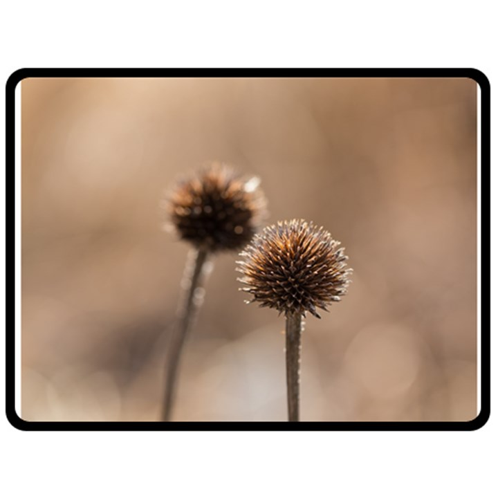 Withered Globe Thistle In Autumn Macro Fleece Blanket (Large)