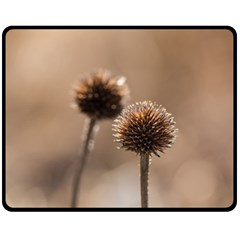 Withered Globe Thistle In Autumn Macro Fleece Blanket (Medium)