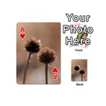 Withered Globe Thistle In Autumn Macro Playing Cards 54 (Mini)  Front - HeartA