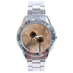 Withered Globe Thistle In Autumn Macro Stainless Steel Analogue Watch Front