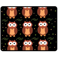 Halloween Brown Owls  Double Sided Fleece Blanket (medium)